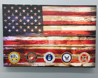 American Flag w/five Military branch badges (Canvas Print)