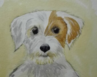 jack russel puppy, original watercolor painting