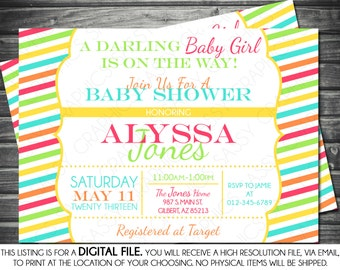 Girls Baby Shower Invitation - Stripes, Pink, Blue, Yellow, Green, Orange, Printable, Digital