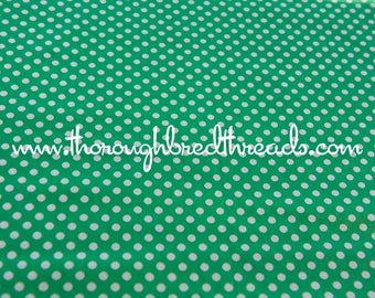Green and White Polka Dots- Vintage Fabric Happy Novelty New Old Stock 70s Adorable