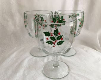 Holly Thumbprint Goblets (set of 3)
