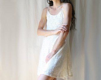 Vintage Lace Sun Dress // Spaghetti Straps // Women's SX S