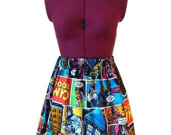 Dr Who Comic Skirt (xs, s, m, l, xl, xxl) doctor who skirt, ladies high waist skirt, fandom, tardis skirt, comic strip, mommy and me skirt