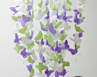 Large Vellum Butterfly Mobile in Violet, Leaf Green and White