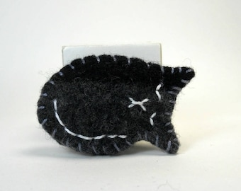 Cat Pin in Black and Charcoal Gray, Upcycled Wool Sweater Kitty Pin, Felted Wool Pin, Felt Brooch, Sleeping Cat