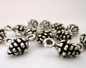 CLEARANCE  Mini Pine Cone Charms in SILVER Finish Set of 20
