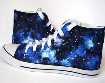 Custom handpainted galaxy sneakers, personalized shoes, galaxy converse, galaxy vans