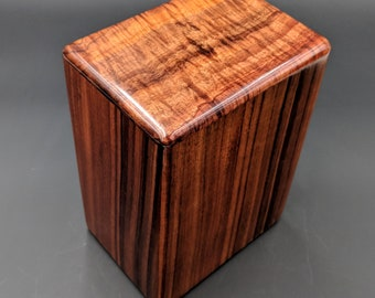 "Large Curly Hawaiian Koa Wooden Memorial Cremation Urn... 7""wide x 5""deep x 9""high Wood Adult Cremation Urn Handmade in Hawaii LK061018-A"