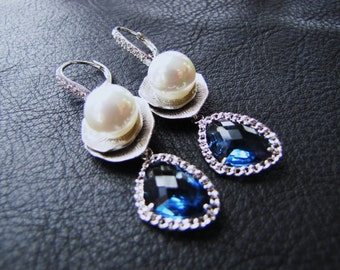 Blue Bridal Long Dangle earrings with South sea shell pearls on lace cubic hook ear wire earrings - Montana Blue