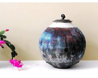 Copper Raku Urn, Storage Jar, Memorial Urn, Studio Pottery, Funeral Urn. Sharing urn, Ceramic Cremation Urn, Wish Jar, Keepsake Urn
