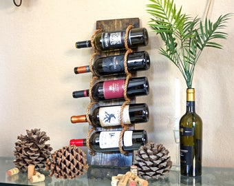 Rustic Wine Rack Wall Mounted | Wine Bottle Holder | Wood Wine Display Bar Organizer