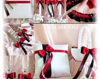 Wedding Red Black White Basket, Pillow, Guest Book, Bridal Garters, Champagne Glasses, Cake Set, Wedding Candles, 12PC SET