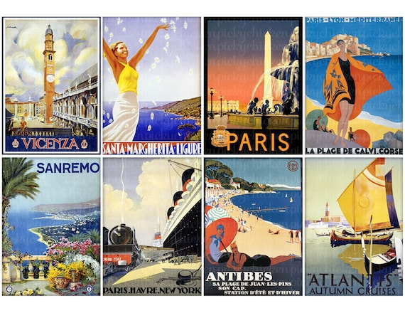 Vintage Travel Posters ACEO Hang Tag Jewelry Card 25x35