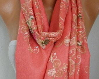 Mother's Gift,Coral Embroidered Scarf, Shawl, Wedding Scarf,Bridal Scarf,Oversized, Bridesmaid Gift For Her, Women Fashion Accesssories