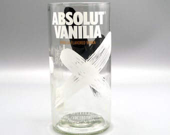 Absolut Vanilla Vodka Vase or Large Drinking Glass Handcrafted from a Absolut Vodka Bottle. Beer Glass. Unique Glassware.