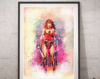 Wonder Woman printable art, wonder woman poster, DC Comics wall art, digital style, superheroes kids room decor, cool ideas, gift for kids