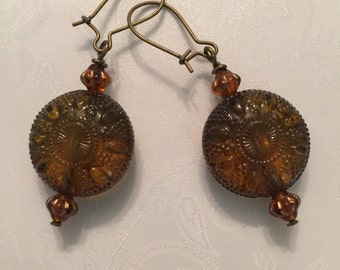 Brown Medallion Earrings