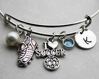 soccer initial bracelet, soccer initial bangle, soccer bracelet, soccer jewelry, soccer charm bracelet, soccer theme bracelet, soccer charm