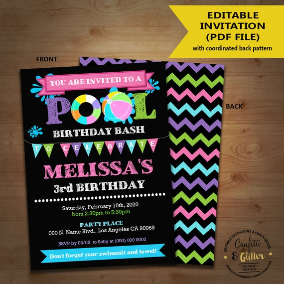 Pool birthday bash invitation backyard pink girl party pool birthday bash invitation backyard pink girl party chalkboard invite instant download you edit text and print yourself invite 5276 solutioingenieria Choice Image