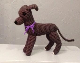 Greyhound Amigurumi - Hand Crocheted - crochet greyhound