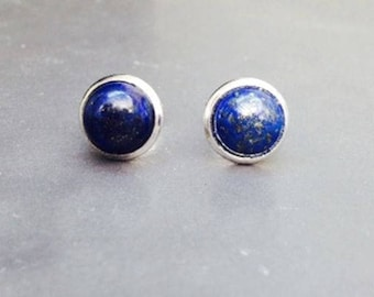 Blue Stud Earrings Sterling Silver 8mm Round Lapis Gemstone Jewellery UK