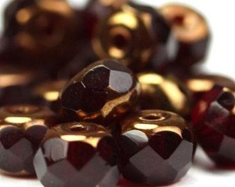Czech Glass Beads Fire Polished Gemstone Donuts 4x6mm Copper Ruby (25) CZF350