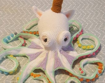 Handmade crochet giant unicorn octopus, rainbow unicorn octopus, stuffed toy