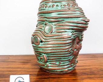 Vintage Green Ceramic Heart O The Sea Vase Sculpture American Studio Art Pottery