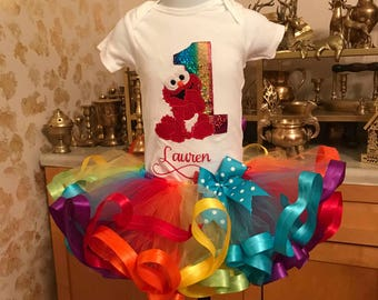 Elmo tutu set, Elmo birthday outfit, sesame street tutu set, birthday shirt, Elmo baby, first birthday outfit, Elmo dress, birthday shirt