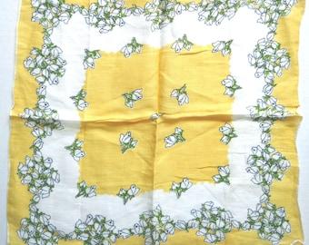 Vintage Hankie, White Rosebuds on Yellow Background, Cotton Handkerchief, Hanky  FS