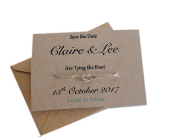A Bit Krafty, 10 x Personalised Save the Date wedding invite with envelope