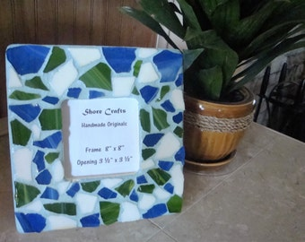 Sea Glass Mosaic Picture Frame Handmade