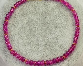 Rare Gem Natural Ruby Rondelle Bead 18K Solid Gold Bracelet 7.2 INCH