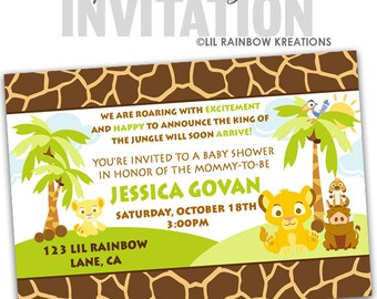 640-02: DIY - King Of The Jungle Party Invitation Or Thank You Card
