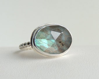 Labradorite Ring Sterling Silver Freeform Rose Cut Gemstone Blue Green Stone Bezel Set Statement Ring Size 7.5