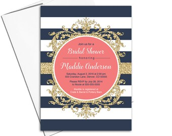 Gold, coral and navy bridal shower Invitation navy | striped invitation | wedding shower invites printed or printable - WLP00662