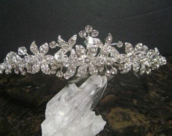 Swarovski Crystal and Rhinestone Bridal Tiara, Rhinestone and Crystal Wedding Headpiece, Rhinestone Bridal Headpiece, Bridal Hair Accessory