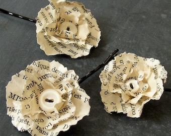 Hair Barrette, French Paper Flower