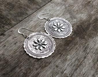 Large floral statement earrings,Silver earrings,Embossed flower earrings,Hippie earrings,Boho earrings,Boho floral earrings,Flower power.