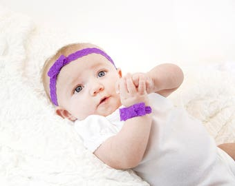 Purple Baby Headband, Lace Bow Headband, Purple  Lace Headband Purple Bow Baby Girl Headband Baby Bow Headband Toddler Headband Newborn Gift