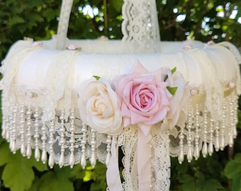 Floral Chandelier- mobile-roses-baby cot chandelier-girls room-wedding chandelier-flowers-Pearls-baby-hanging gift-