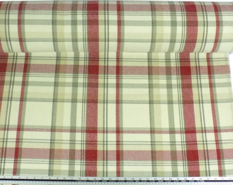 Tartan Check Wool Look and Feel Cream Red Upholstery Fabric Material Sold By The Metre