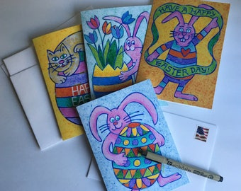 Set of 4 Easter Cards