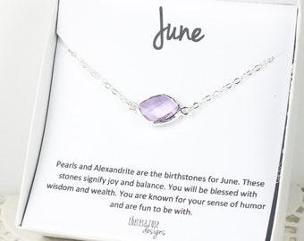 June Birthstone Silver Necklace, Light Amethyst Silver Necklace, June Birthstone Jewelry, June Birthday Gift, Light Amethyst Necklace
