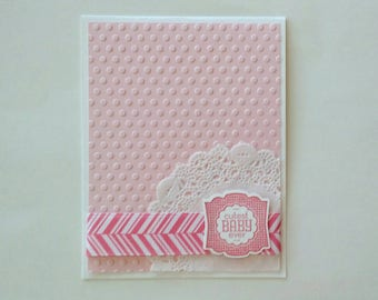 Baby card, baby shower card, baby girl card, expecting card, baby gift, baby shower gift, stampin up card, homemade card, pink baby card