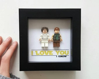 Star wars Gift for him I love you I know Hans solo and princess Leia / Lego Frame / Fathers day present / Wife Husband Girlfriend Boyfriend