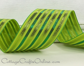 """Wired Ribbon, 2 1/2"""", Lime, Green Metallic Stripe - THREE YARDS, """"Baroque Emerald"""" Christmas, St. Patrick's Craft Wire Edged Ribbon"""