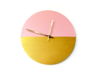 Silent Wall Clock, Bedroom Clock, Wood Wall Clock Large, Pink and Gold Wall Art