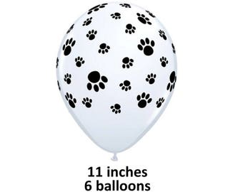 paw prints balloons, 6CT, dog party, dogs, puppies, paw patrol, print, black and white, pets birthday, decorations, latex balloons, cats