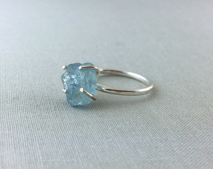 Catalina Ring - Aquamarine / California Collection // raw aquamarine ring, sterling silver, boho jewelry, raw gemstone ring, crystal ring
